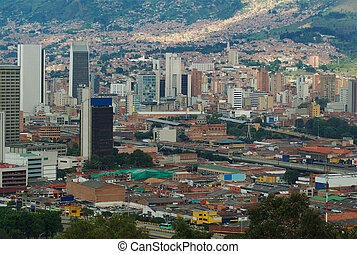 Downtown Medellin, Colombia - The city center of Medellin,...