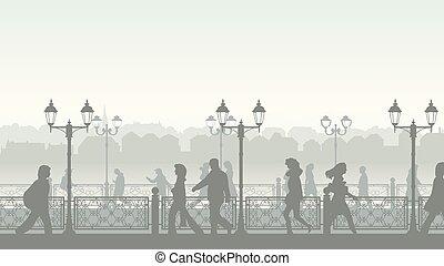 downtown, mensen., straat