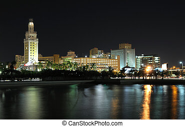 Downtown Miami at night, Florida