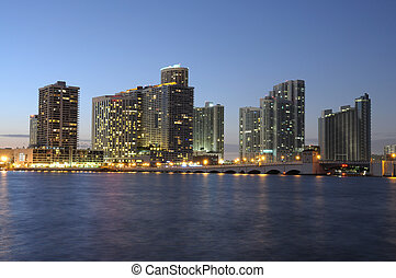 Downtown Miami at night, Florida USA