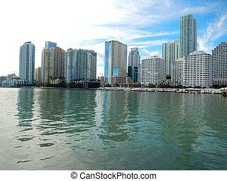 downtown, miami, langs, biscayne baai
