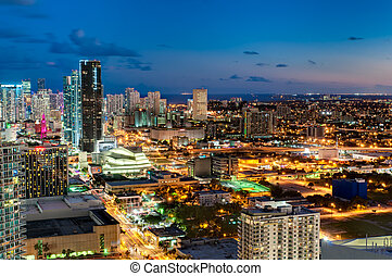 Downtown Miami Skyline - MIAMI - OCTOBER 5: Aerial view of...
