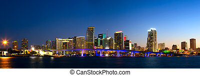 Miami skyline panorama - Downtown Miami skyline panorama and...
