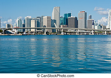 Downtown Miami Skyline - Panoramic view of Miami Downtown...