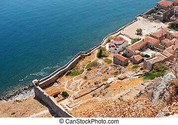 Downtown Monemvasia near the sea