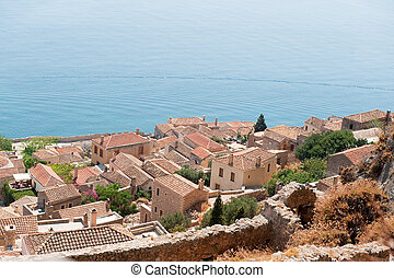 Downtown Monemvasia near the sea