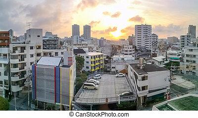 Downtown Naha city skyline in Okinawa, Japan