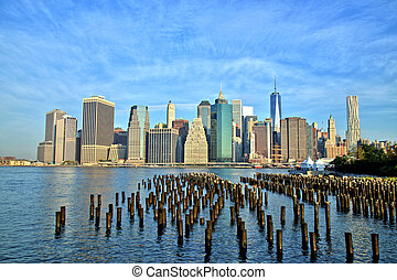 downtown, nieuw, stad, manhattan, york