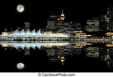 downtown., notte, vancouver, vista