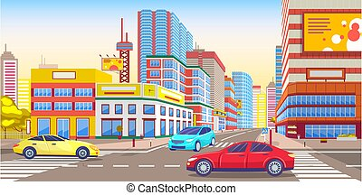 Downtown of City, Streets Full of Traffic and Cars