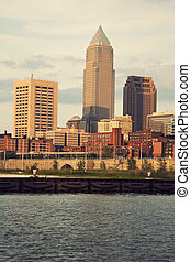 Downtown of Cleveland, Ohio during sunset - Downtown of...