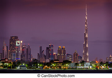 Downtown of Dubai, United Arab Emirates, in the sunset