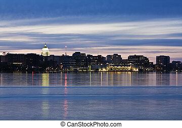 Downtown of Madison accross Monona Lake, night time.