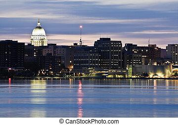 Downtown of Madison accross Monona Lake