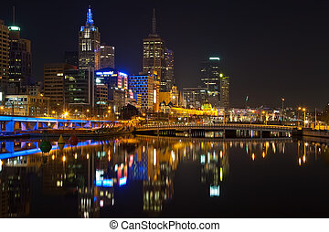 Melbourne at night - Downtown of Melbourne at night, Yarra...