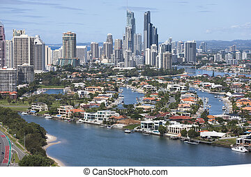 Downtown of Surfers Paradise on a sunny day