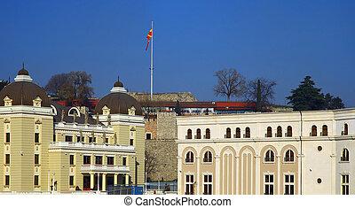 Skopje, Macedonia. - Downtown of the Skopje, Macedonia. ...