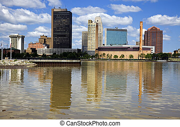 Downtown of Toledo and Maumee River