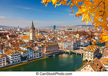 Downtown of Zurich at sunny day