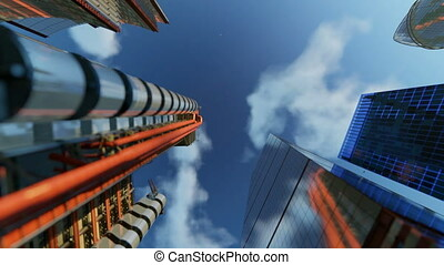Downtown office buildings against blue sky, rotating camera