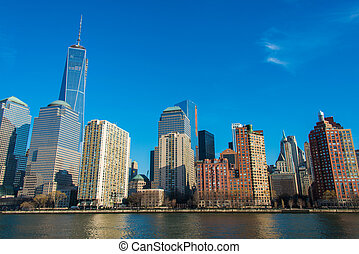 downtown, panorama, manhattan