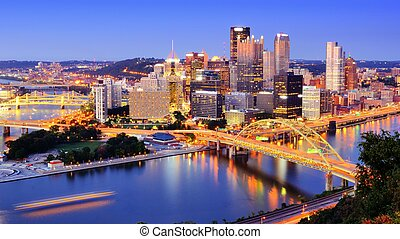 Pittsburgh - Downtown Pittsburgh, Pennsylvania at dusk.