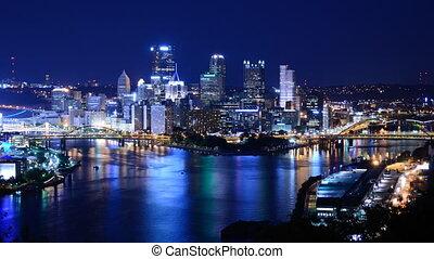 Time lapse of downtown Pittsburgh, Pennsylvania, USA.