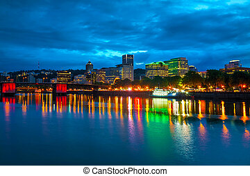 Downtown Portland cityscape at the night time - Downtown...