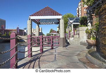 Downtown Reno promenade and park. - Downtown Reno NV.,...