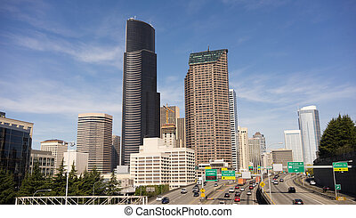 Downtown Seattle City Skyline Interstate 5 Cars Divided Highway