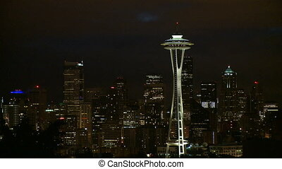 Downtown Seattle evening - time lapse
