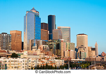 Downtown Seattle in the warm colors of light at sunset.