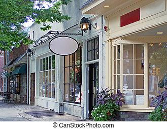 downtown, shops