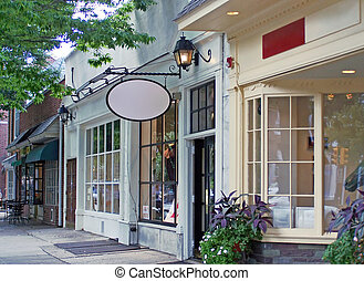 Downtown Shops - Daytime view of historic downtown shopping ...