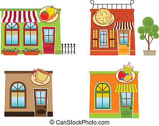 Downtown Shops - Set of four colorful downtown shops. Eps10