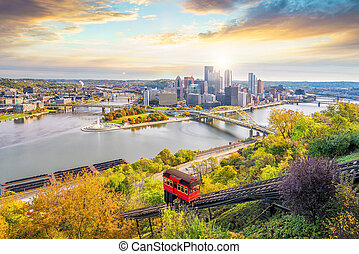 Downtown skyline and vintage incline in Pittsburgh