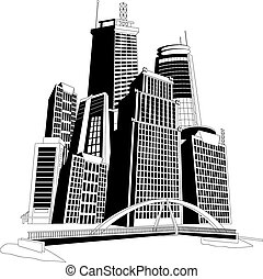 Downtown skyline - Black and white illustration of a ...