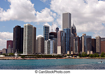 downtown, skyline, chicago