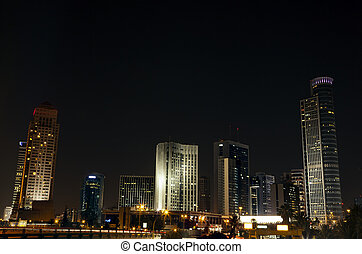 Downtown Skyline - Nocturnal view at the downtown district ...
