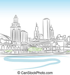 Downtown Skyline of Chicago - An image of a downtown skyline...