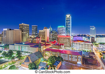 Oklahoma City, Oklahoma, USA at twilight - Downtown skyline ...