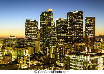 Downtown skyscrapers Los Angeles California at sunset