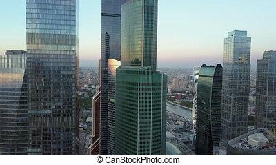 downtown, stad, luchtschot, wolkenkrabbers