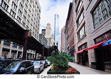 downtown, straat, chicago, aanzicht