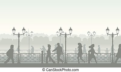 Downtown street with people. - Horizontal illustration of ...