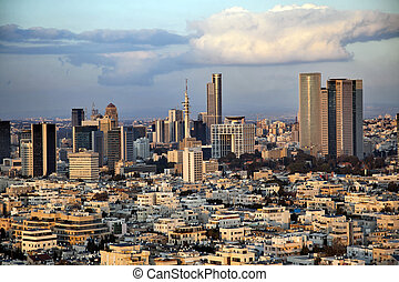 Downtown Tel-Aviv Skyline - A view to the east, depicting ...
