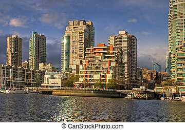 Downtown Vancouver condos, seen from Granville Island -...