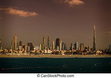 downtown, verenigde arabische emiraten, ondergaande zon , dubai