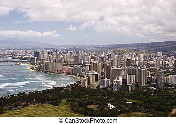 Downtown Waikiki as seen from atop Diamond Head Crater