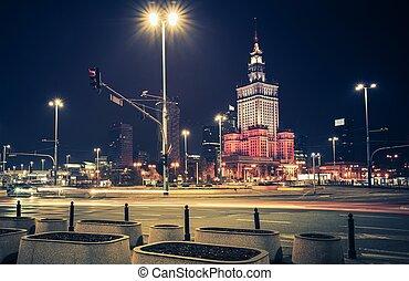 Downtown Warsaw at Night